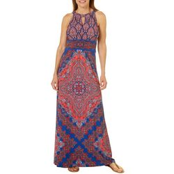 London Times Womens Medallion Print Keyhole Maxi Dress