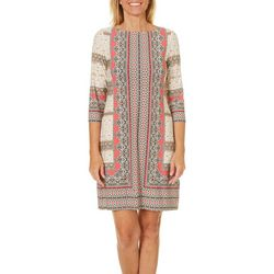 London Times Womens Abstract Geometric Shift Dress