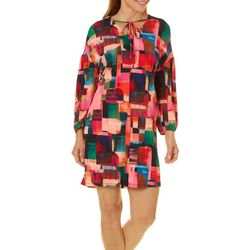 London Times Womens Painted Squares Shift Dress