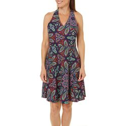 London Times Womens Textured Fit & Flare Halter Dress
