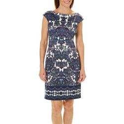 London Times Womens Border Print Cap Sleeve Dress