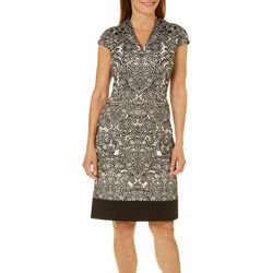 London Times Womens Ponte Lace Detail Dress