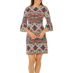 London Times Womens Geometric Print Bell Sleeve Dress