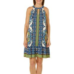 London Times Womens Border Print Halter Dress
