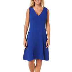 London Times Womens Textured Sleeveless Fit & Flare Dress