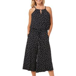 London Times Womens Polka Dot Wide Leg Capri Jumpsuit
