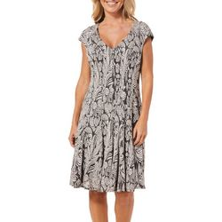 London Times Womens Abstract Leaf Cap Sleeve Dress