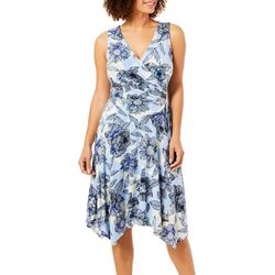 London Times Womens Floral Print Faux-Wrap Dress