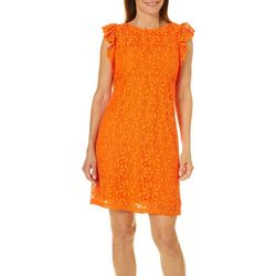 London Times Womens Daisy Lace Ruffle Dress