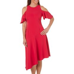 London Times Womens Cold Shoulder Asymmetrical Hem Dress