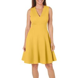 London Times Womens Textured Solid Fit & Flare Dress