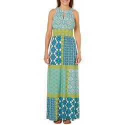 London Times Womens Boho Patchwork Keyhole Maxi Dress