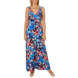 London Times Womens Watercolor Floral Maxi Dress