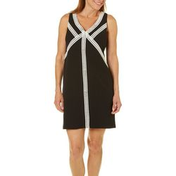 London Times Womens Contrast Crochet Detailed Dress