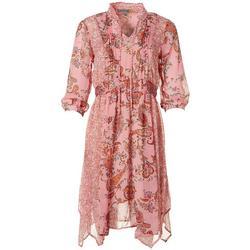 Figueroa & Flower Womens Paisley Floral Midi Dress