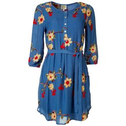 Figueroa & Flower Womens Embroidered Button-Down Dress