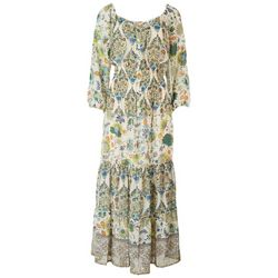 Figuera & Flower Womens Floral Long Sleeve Tiered Dress