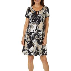 Espresso Womens Short Sleeve Keyhole Floral Puff Print Dress