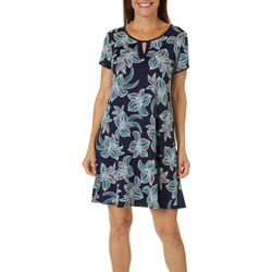 Espresso Womens Short Sleeve Floral Leaves Puff Print Dress