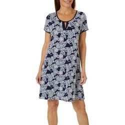 Womens Short Sleeve Floral Puff Print Dress