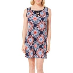 Espresso Womens Sunburst Puff Print Lace-Up Neck Dress