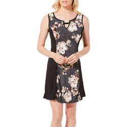 Espresso Womens Floral Puff Panel Keyhole Sleeveless Dress
