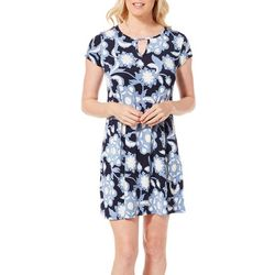 Espresso Womens Floral Swirl Puff Print Keyhole Dress