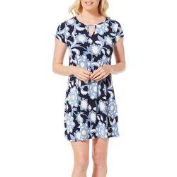 Espresso Womens Floral Swirl Puff Print Keyhole Dress