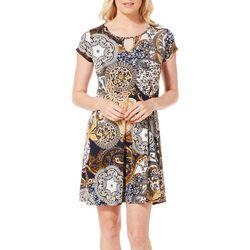 Espresso Womens Floral Medallion Puff Print Keyhole Dress