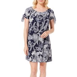 Espresso Womens Floral Leaves Puff Print Cold Shoulder Dress