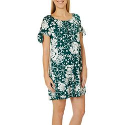 Espresso Womens Floral Buds Puff Print Cold Shoulder Dress
