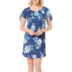 Espresso Womens Denim Floral Puff Print Cold Shoulder Dress