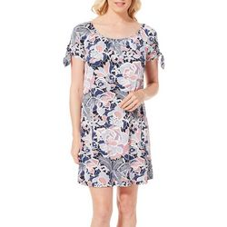 Espresso Womens Floral Puff Print Cold Shoulder Dress