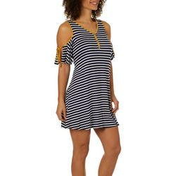 Espresso Womens Striped Tie Sleeve Cold Shoulder Dress