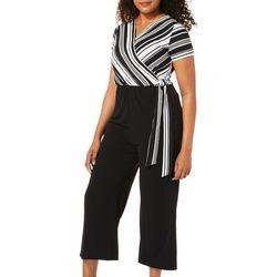 Espresso Womens Stripe Side Tie Faux Wrap Jumpsuit