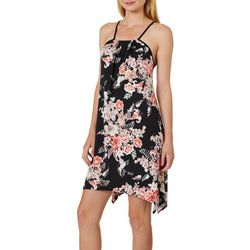 Espresso Womens Tropical Floral Puff Print Sleeveless Dress