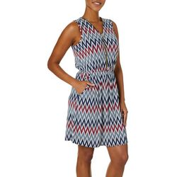 Espresso Womens Chevron Puff Print Dress