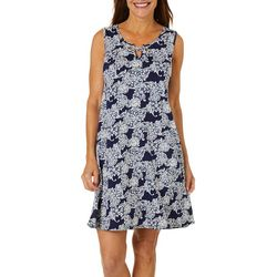 Espresso Womens Lace Floral Puff Print Grommet Keyhole Dress