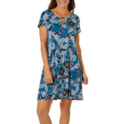 Espresso Womens Blooming Floral Puff Print Keyhole Dress