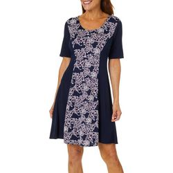 Espresso Womens Floral Swirl Solid Panel Short Sleeve Dress