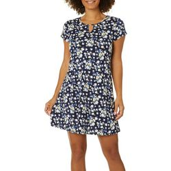 Espresso Womens Daisy Floral Puff Print Keyhole Dress