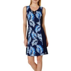 Espresso Womens Palm Leaf Puff Print Grommet Keyhole Dress