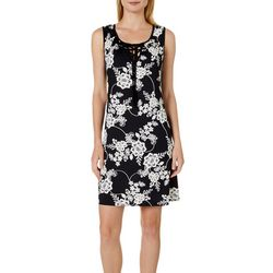 Espresso Womens Floral Puff Print Lace-Up Neck Dress