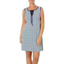 Espresso Womens Geometric Puff Print Lace-Up Neck Dress