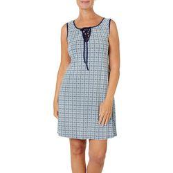 Espresso Womens Geometric Puff Print Lace-Up Neck Dress