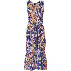 Womens Ruffled Trim Wild Floral Midi Dress