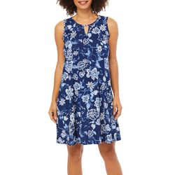 Espresso Womens Floral Frenzy Puff Print Keyhole Dress
