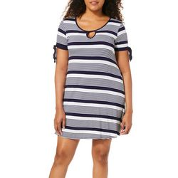 Espresso Womens Striped Tie Sleeve Keyhole Dress