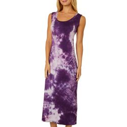 Espresso Womens Tie Dye Open Back Sleeveless Maxi Dress