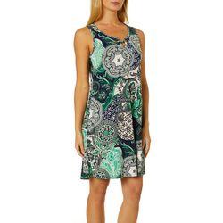 Espresso Womens Paisley Puff Print Keyhole Sleeveless Dress